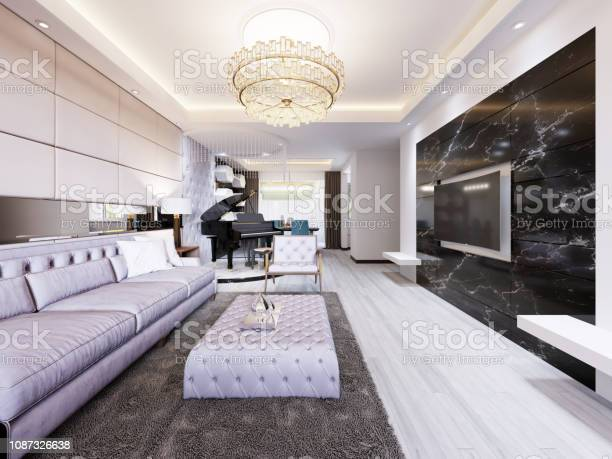 Builtin Tv On The Wall In The Luxurious Living Room Black Marble Wall With Tv And White Shelves Modern Living Room In Contemporary Style Stock Photo Download Image Now Istock