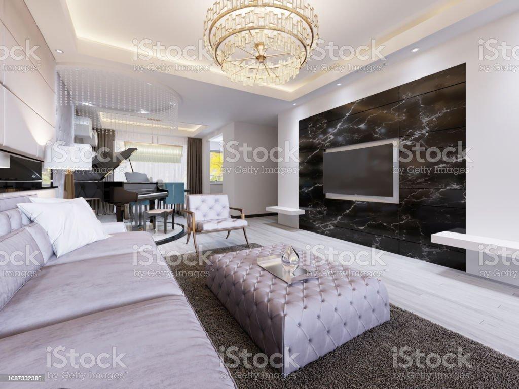 Eingebauten Tv An Der Wand Im Luxuriösen Wohnzimmer Schwarz ...