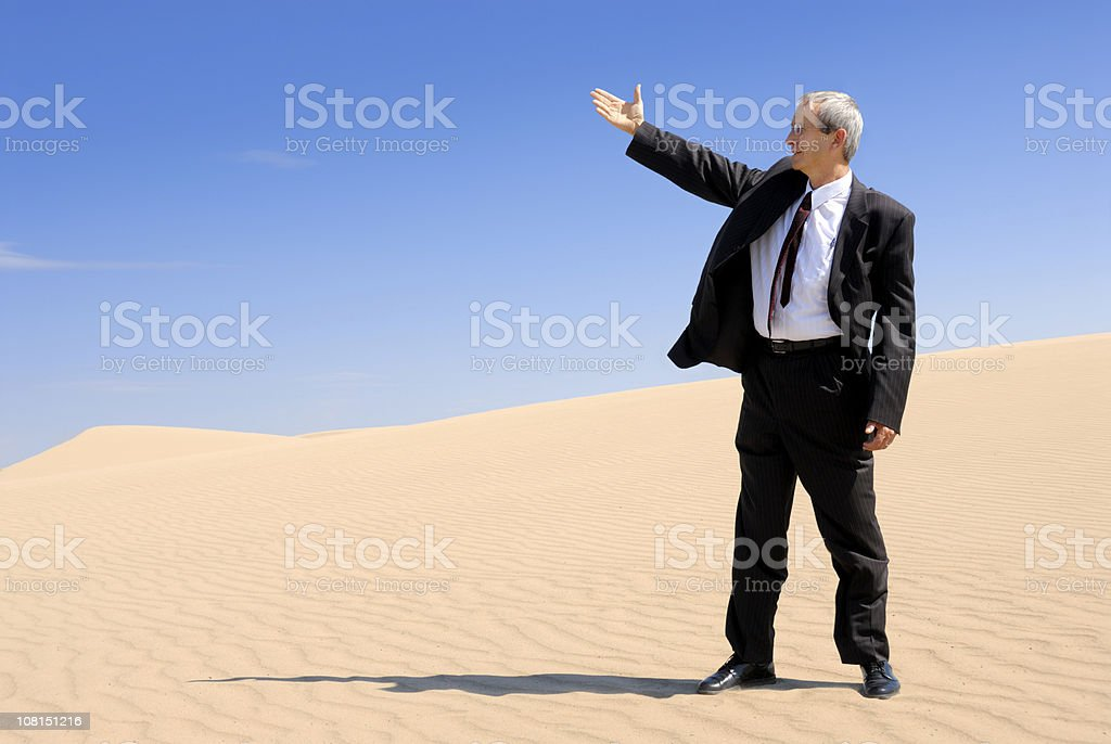 Buinessman Standing on Sand Surveying royalty-free stock photo
