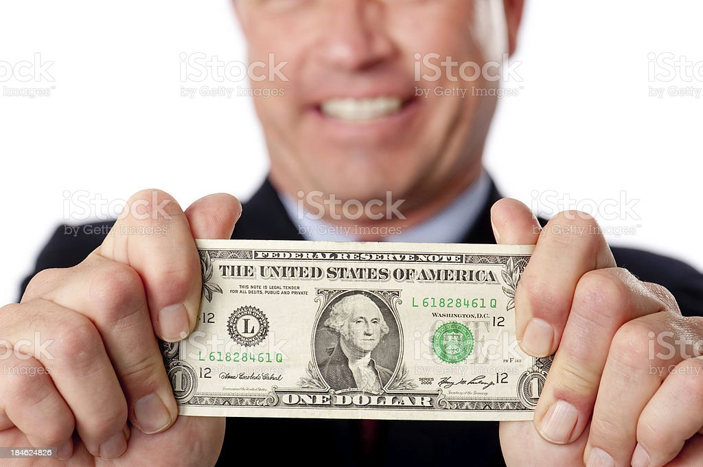 Buinessman With Dollar Bill royalty-free stock photo