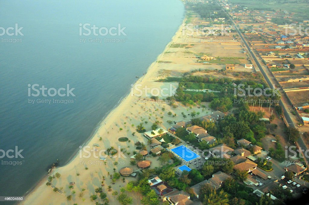 Bujumbura; Burundi: Lake Tanganyika shore from the air stock photo