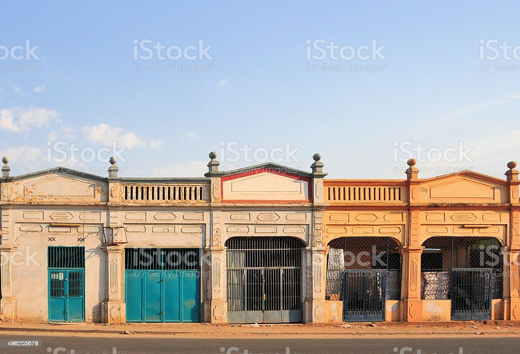 Bujumbura, Burundi: old shop fronts stock photo