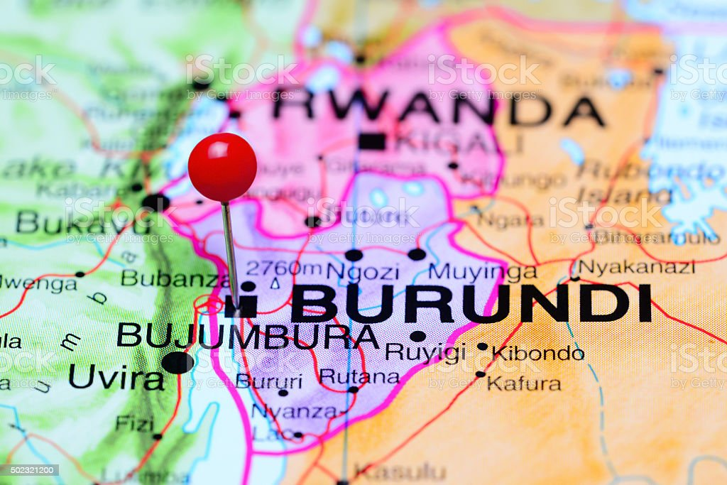 Bujumbura pinned on a map of Africa stock photo