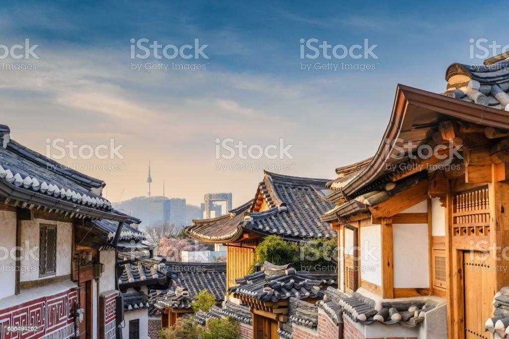 Bukchon Hanok Village and Seoul city skyline, Seoul, South Korea stock photo