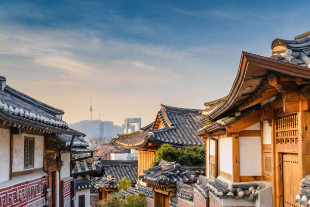 Bukchon Hanok Village and Seoul city skyline, Seoul, South Korea stock photo
