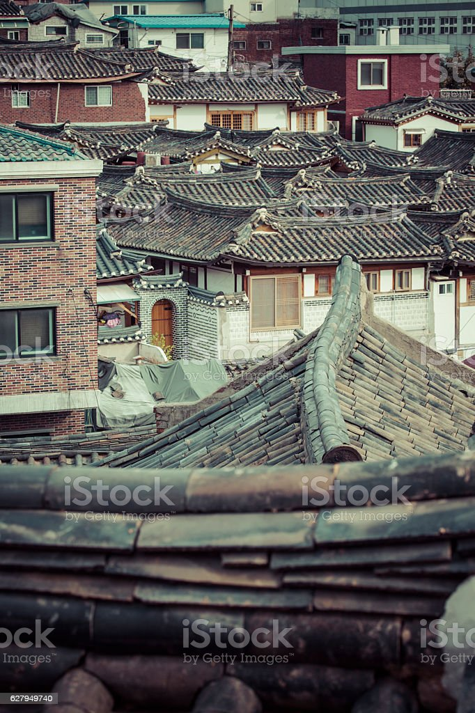 Bukchon Hanok Village in Seoul, South Korea. stock photo