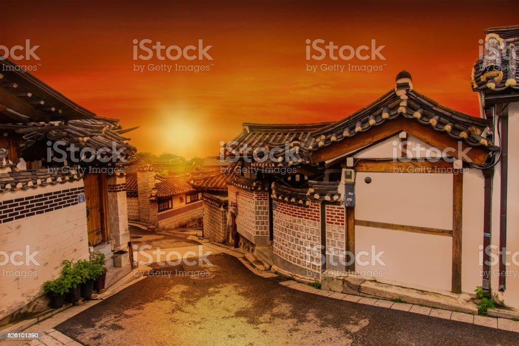 Bukchon Hanok Village in Seoul, South Korea stock photo