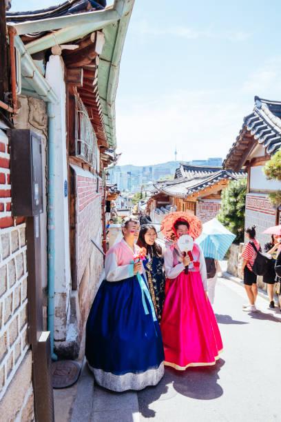 Bukchon Hanok Village in South Korea stock photo
