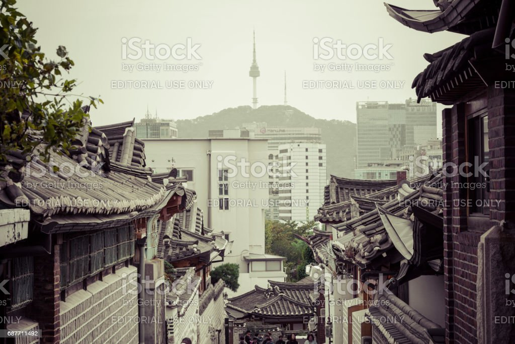 Bukchon Hanok Village is one of the famous place for Korean traditional houses in Seoul, South Korea. stock photo