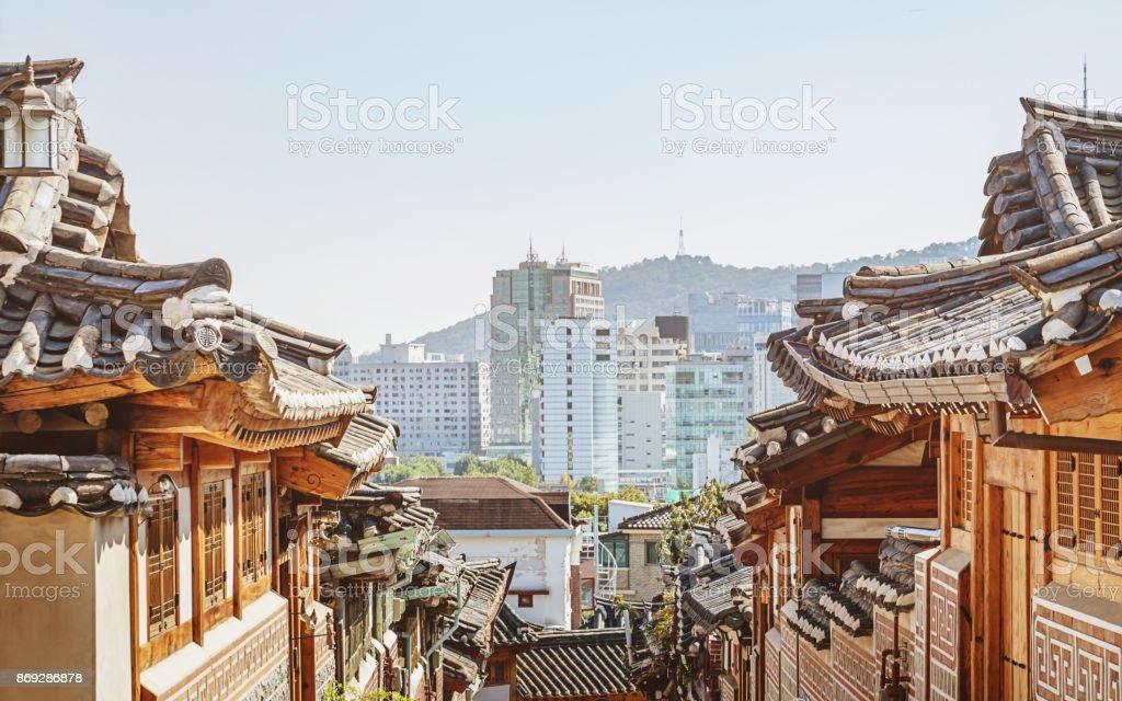 Bukchon Hanok Village Seoul Historic Neighborhood South Korea stock photo