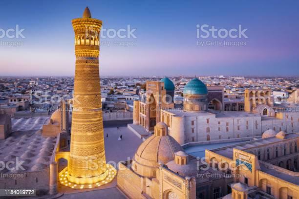 Bukhara Uzbekistan Kalyan Minaret And Madressa Sunset Twilight Stock Photo - Download Image Now