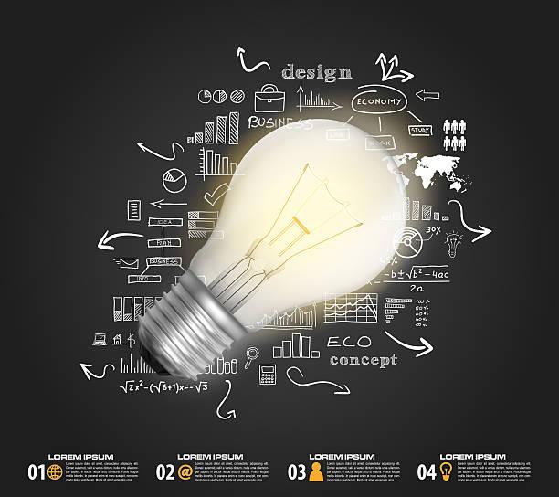 glühbirne infografik design vektor-business-plan - unterrichtsplanung vorlagen stock-fotos und bilder