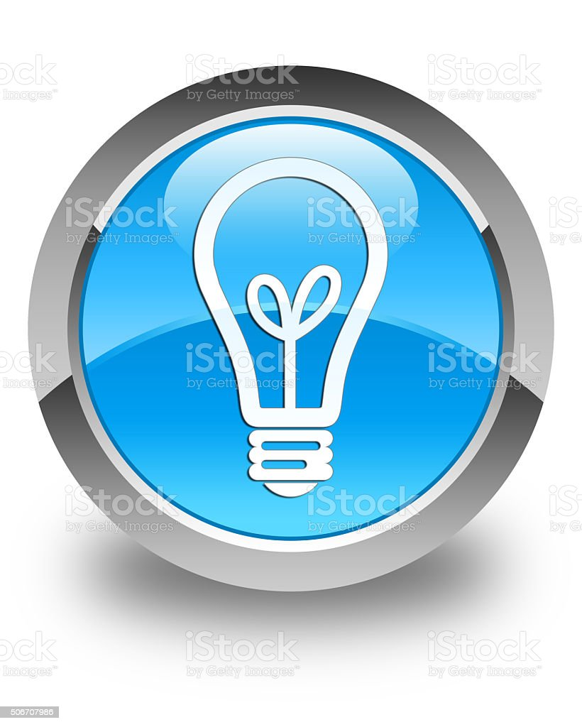 Bulb icon glossy cyan blue round button stock photo