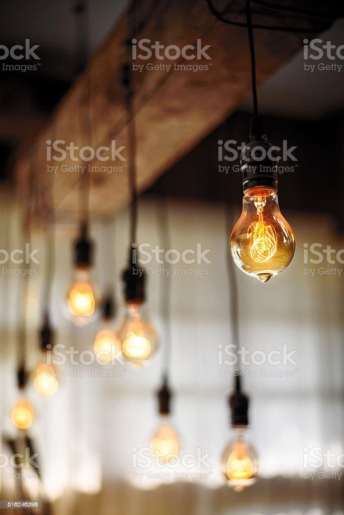 Bulb Lighting interior decor stock photo