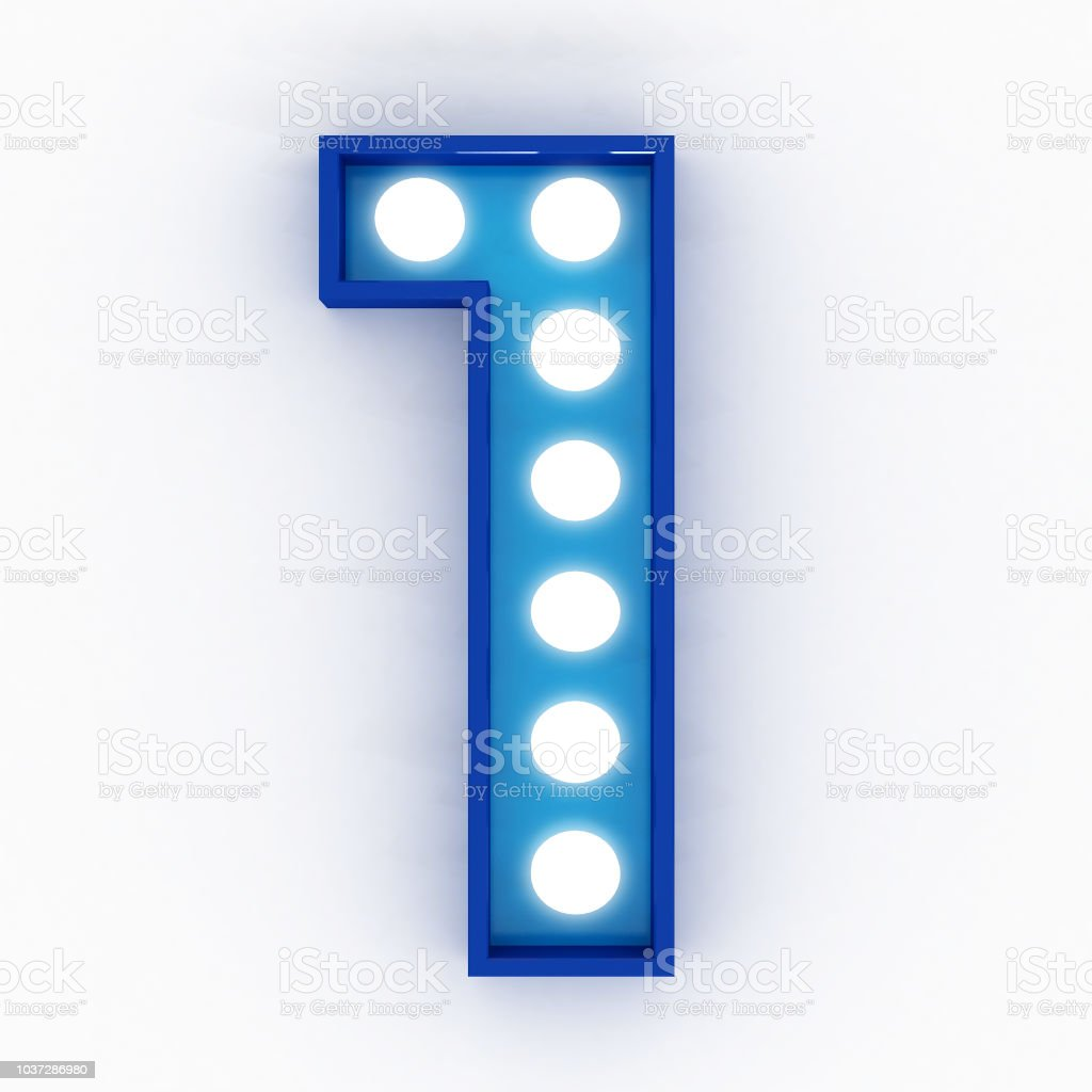 bulb neon sign number 3d render stock photo