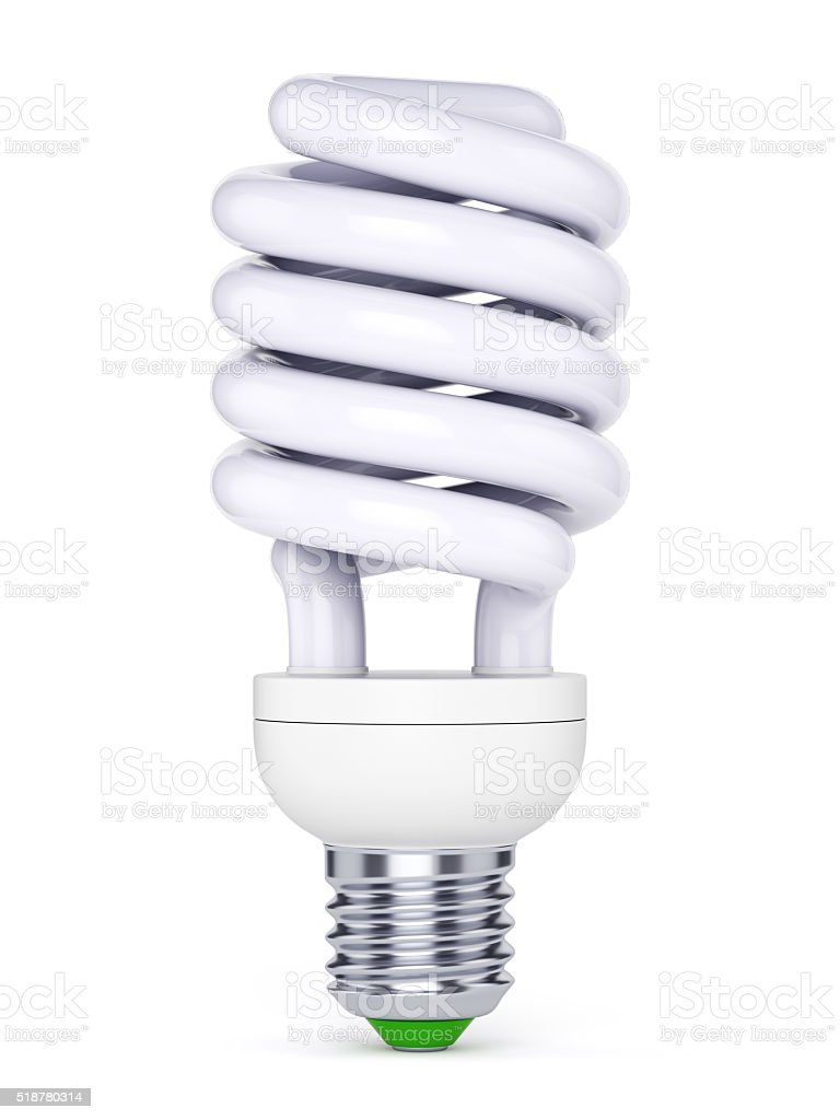 CFL bulb on white background stock photo