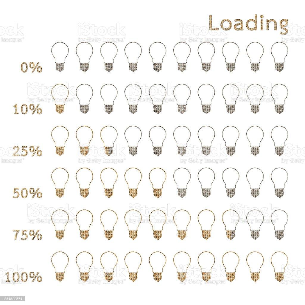bulb preloaders and progress loading bars stock photo