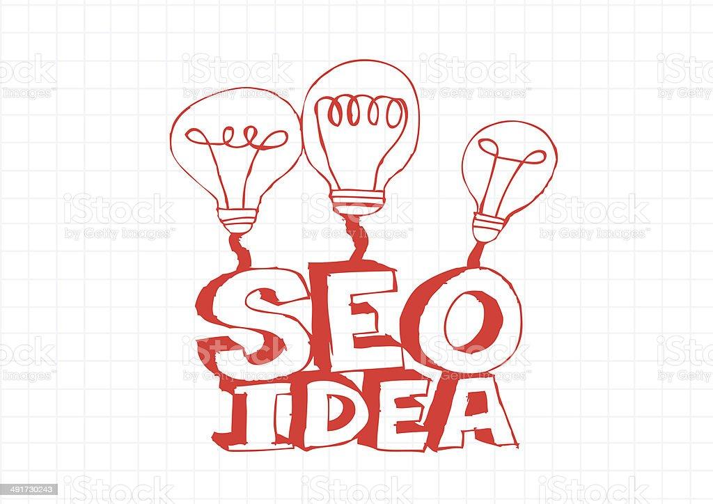 Bulb SEO Idea Search Engine Optimization concept design stock photo