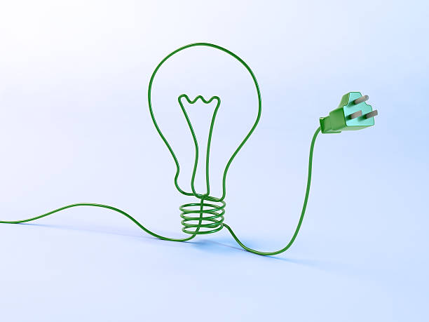Bulb shaped electric cord stock photo