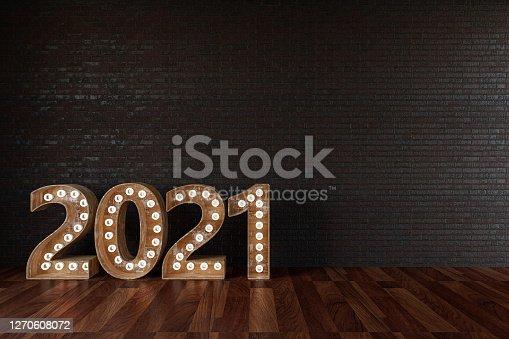 2021 Bulb Sign On Black Brick Wall. 3d Render