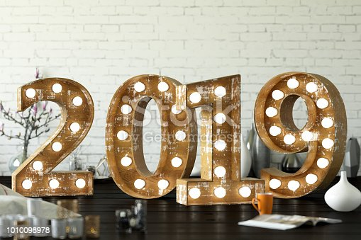 2019 Wooden Bulb Sign with decorations