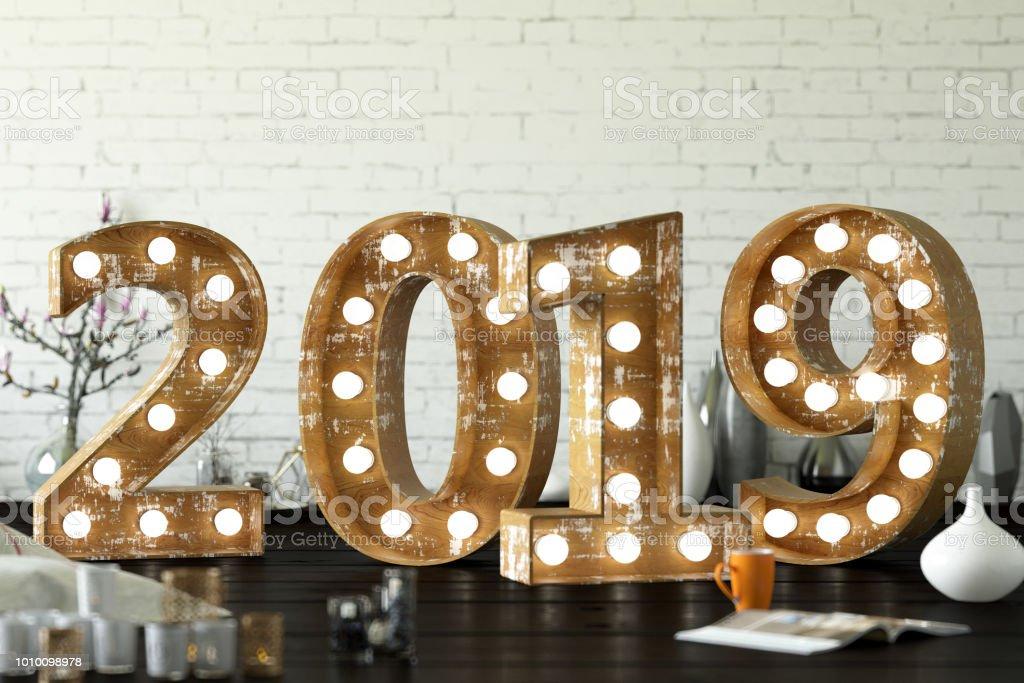 2019 Bulb Sign stock photo