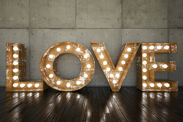 love bulb sign - vintage stock photos and pictures