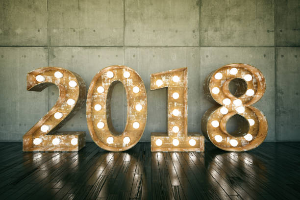 2018 Bulb Sign New Year Concept with 2018 Bulb Sign 2018 stock pictures, royalty-free photos & images