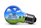Bulb with solar panel and wind turbines on white background