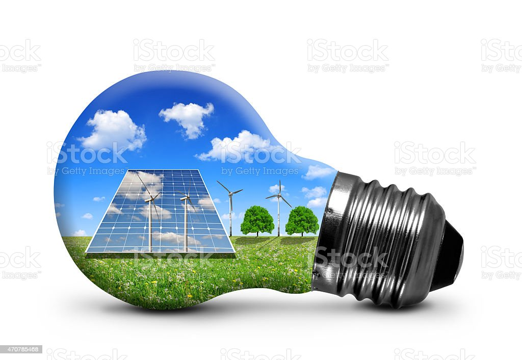 Bulb with solar panel and wind turbines stock photo