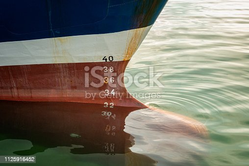 Large trawler at quay. Close up photo of the bulbous bow