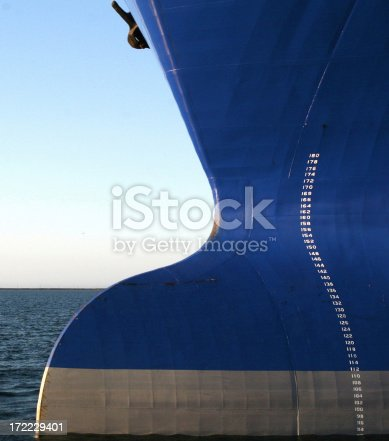 Close-up of bulbous bow of an oil tanker