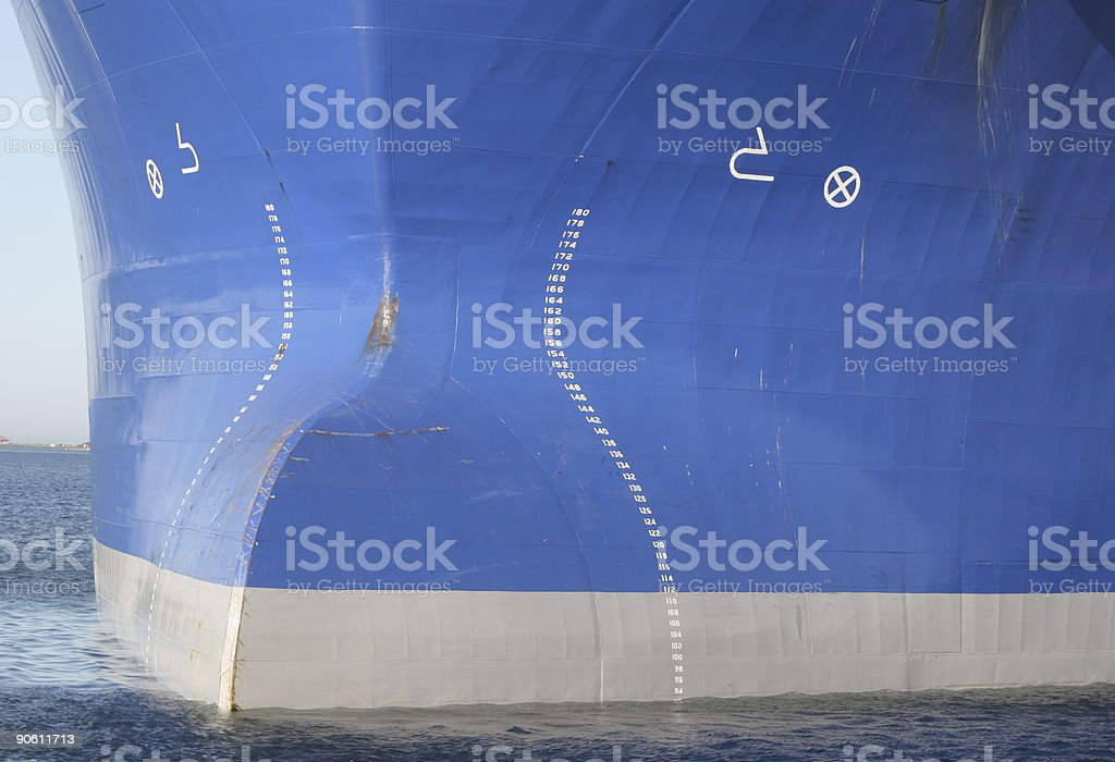 Bulbous Bow of OIl Tanker royalty-free stock photo
