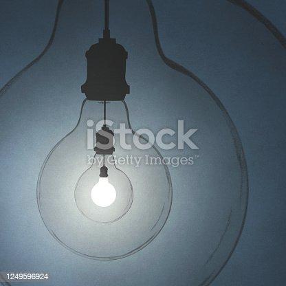 183057254 istock photo bulbs in loop, surreal creativity concept 1249596924