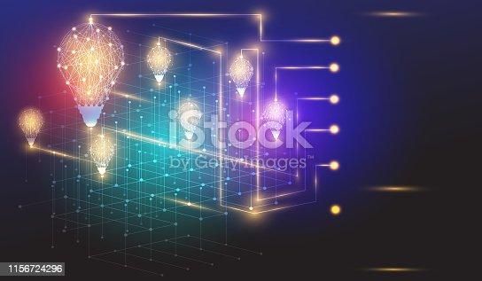 istock Bulbs lighting polygon infographic business ideas concept 1156724296