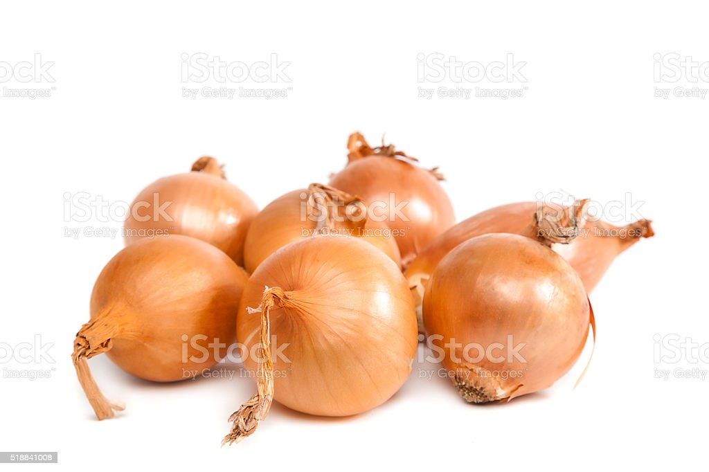 Bulbs of onion on white background. stock photo