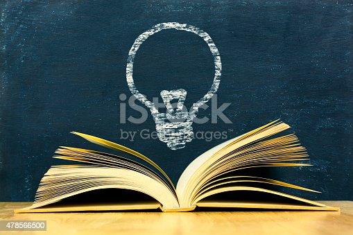 istock Bulbs symbol above vintage old book on blackboard background 478566500