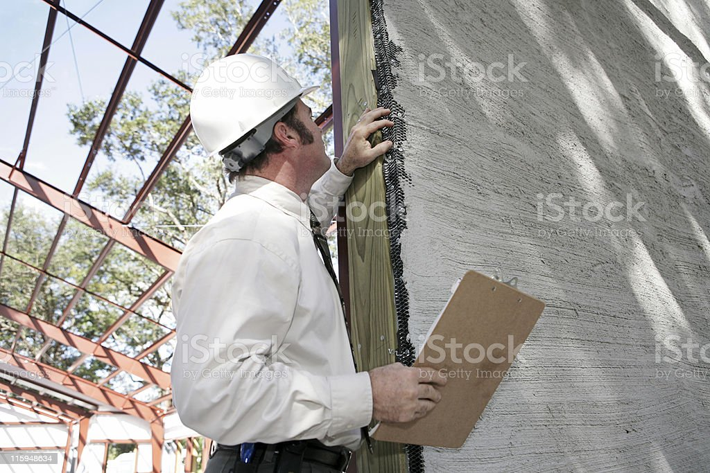 Bulding Inspection Incomplete Stucco stock photo