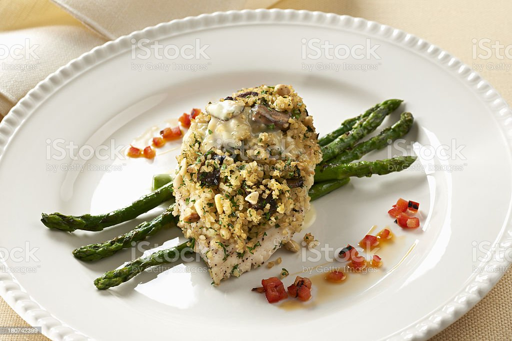 Bulgar Wheat and Mushroom encrusted Chicken Breast stock photo