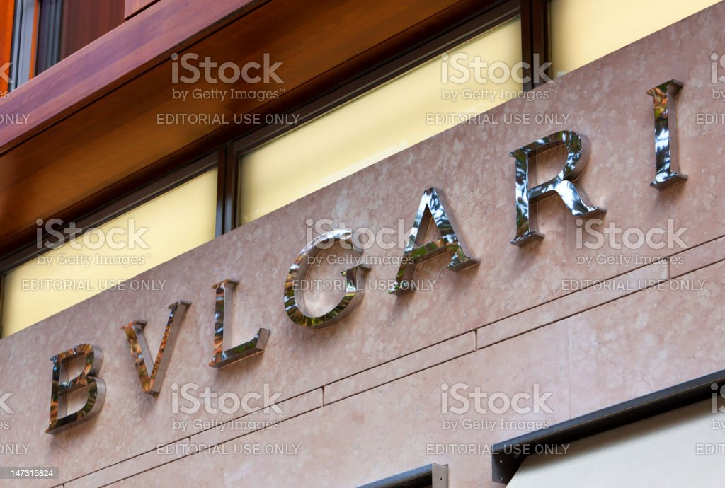 Bulgari signage at store stock photo