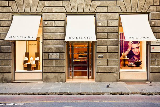 ブルガリストアのフィレンツェ(イタリア) - ブランド名 ストックフォトと画像