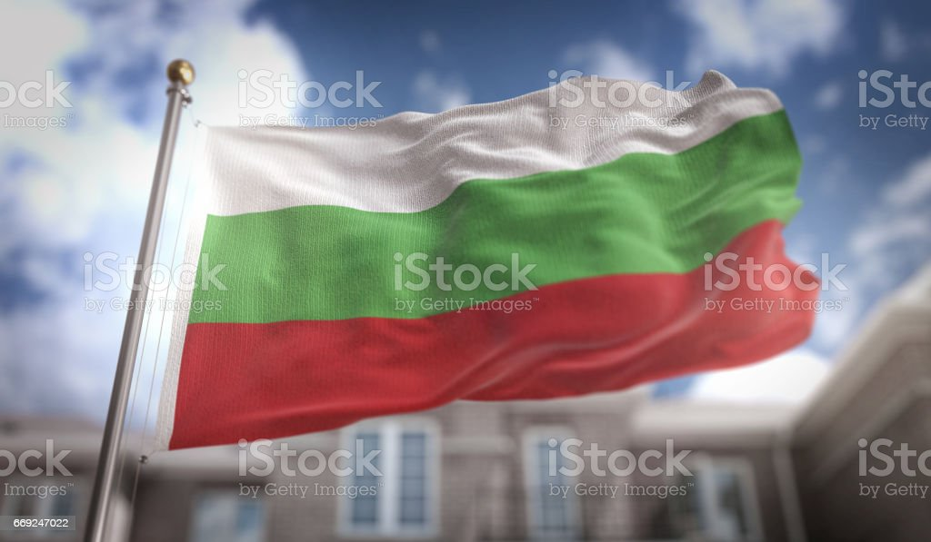 Bulgaria Flag 3D Rendering on Blue Sky Building Background stock photo