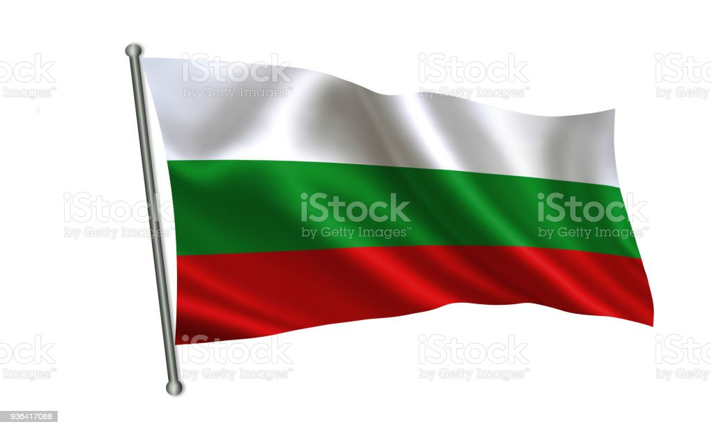 Bulgaria flag. A series of 'Flags of the world.' (The country - Bulgaria) stock photo