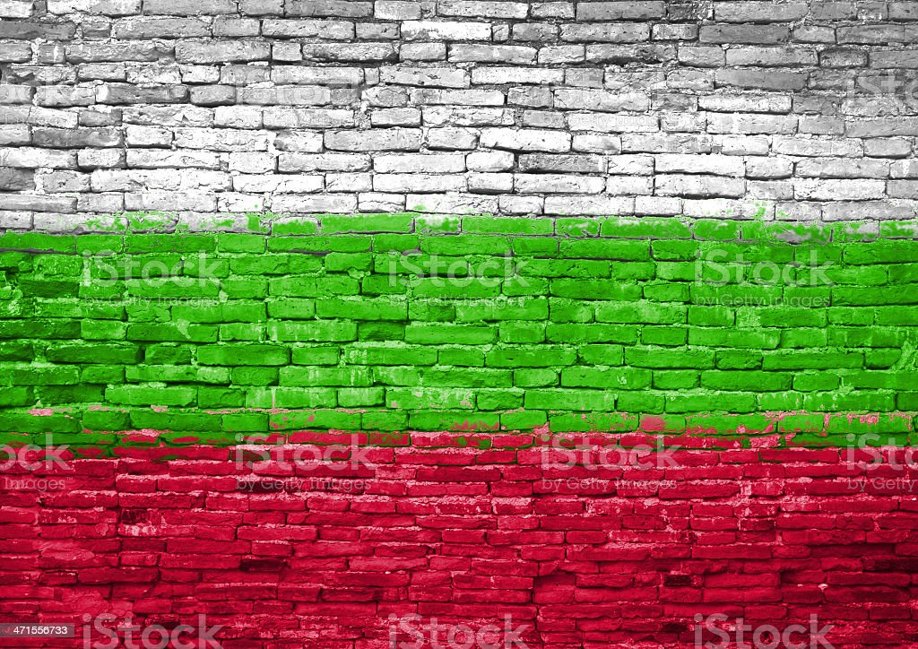 Bulgaria flag painted on wall stock photo