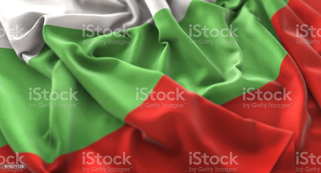 Bulgaria Flag Ruffled Beautifully Waving Macro Close-Up Shot stock photo