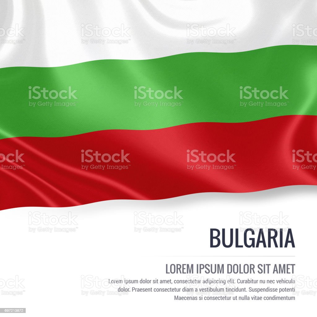 Bulgaria flag. Silky flag of Bulgaria waving on an isolated white background with the white text area for your advert message. 3D rendering. stock photo