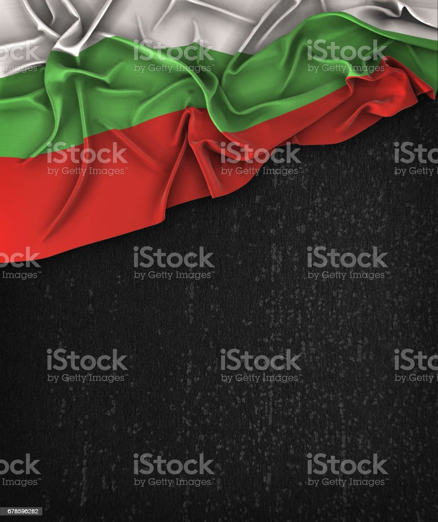Bulgaria Flag Vintage on a Grunge Black Chalkboard With Space For Text stock photo