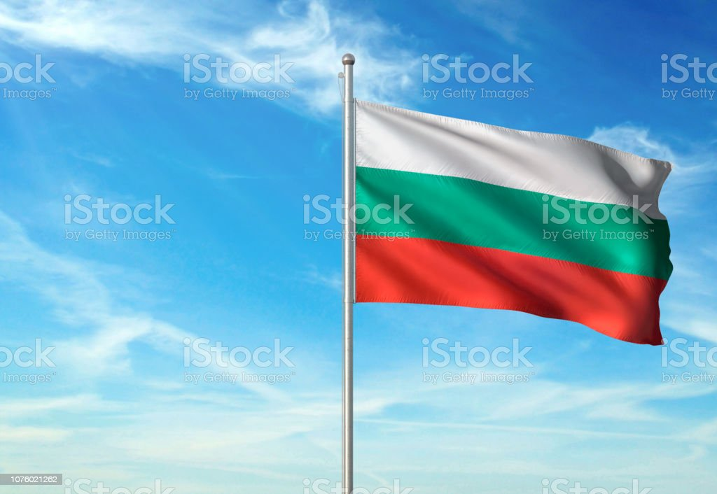 Bulgaria flag waving cloudy sky background realistic stock photo