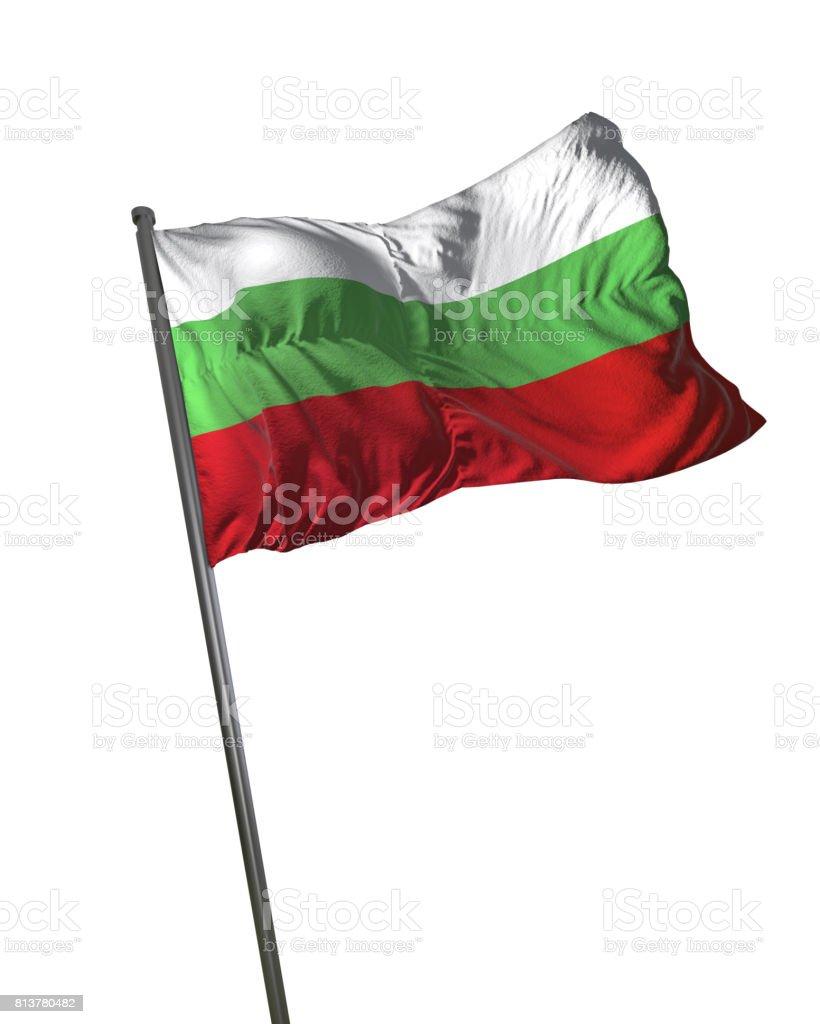 Bulgaria Flag Waving Isolated on White Background Portrait stock photo