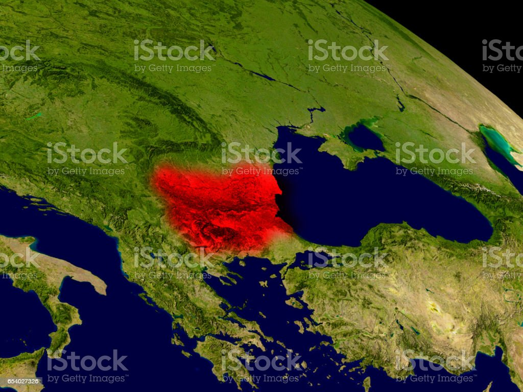 Bulgaria from space stock photo